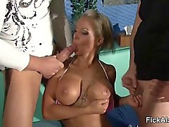 German Beauty Pornstar Fucked in Privat Gangbang
