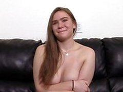 Big boobs teen casting with swallow