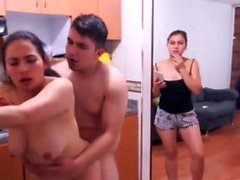 Amateur latina FFM trio act out the scene on webcam