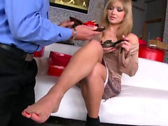 Natural tits pornstar foot and cumshot