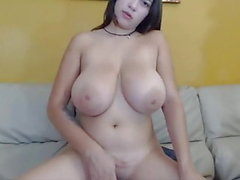 Latina girl with a big tits rub her pussy