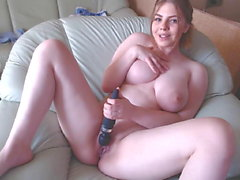 natural big boobs with glasses masturbating on cam