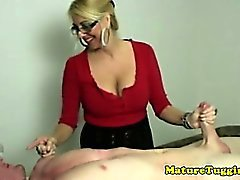 Amateur blonde mature jerking cock