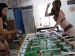TEENGONZO Hot busty lesbians pussy playing in the man cave