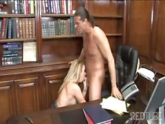 Headmaster gets some head and a hot fuck from a blonde with big tits