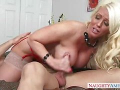 Chubby Mom Alura Jenson In Red Lingerie Teaches His Son To Tie A Tie