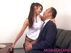 Japanese milf in stockings fucked at the office