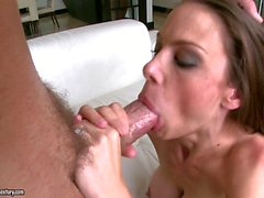 Bitchy Mckenzie Lee gets splattered with hot cum on her filthy mouth