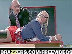 Hd blonde schoolgirl is spanked and fucked