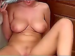 Big breasted blonde beauty masturbates in POV scene