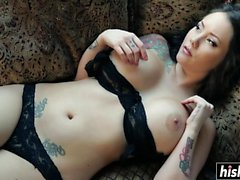 Tattooed girl rides a friend dick