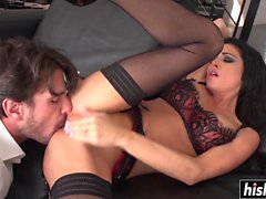 Amazing chick plays with a long shaft
