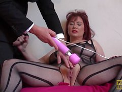 Busty redhead sub pussy toyed by dominator