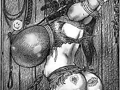 giant rope tied breast bdsm