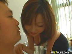 Japanese Lady with big tits giving blowjobs
