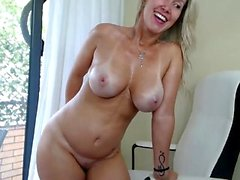 Big and busty mature blonde bitch with her toys