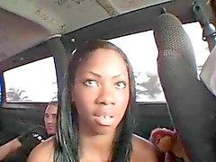 Ebony amateur hoe gets pussy checked in the bus