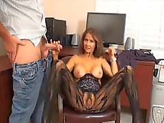 Horny chick gets him off in the office